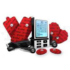 PainPod™-3 with its package content, large pads, medium pads, electrode wires