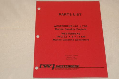 Westerbeke 34630 Parts List for 6.5, 8, and 11 KW marine gas generators AS