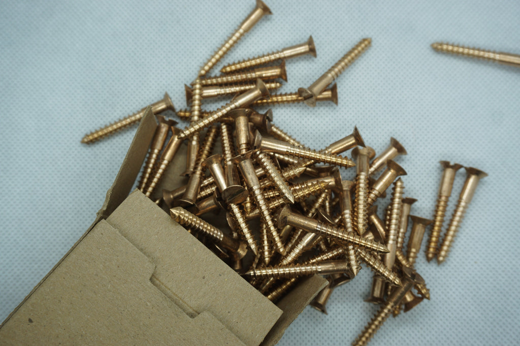 "#10 x 1-1/2""  Silicon Bronze Wood Screws - 1-1/2"" Slotted Flat Head - Box of 100"