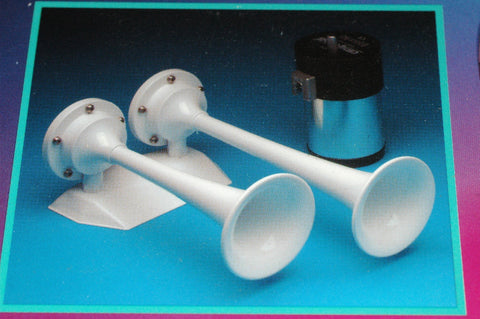 AFI 10121 Full Blast dual trumpet air horn 12volt white Accessories part from MarineSurplus.com