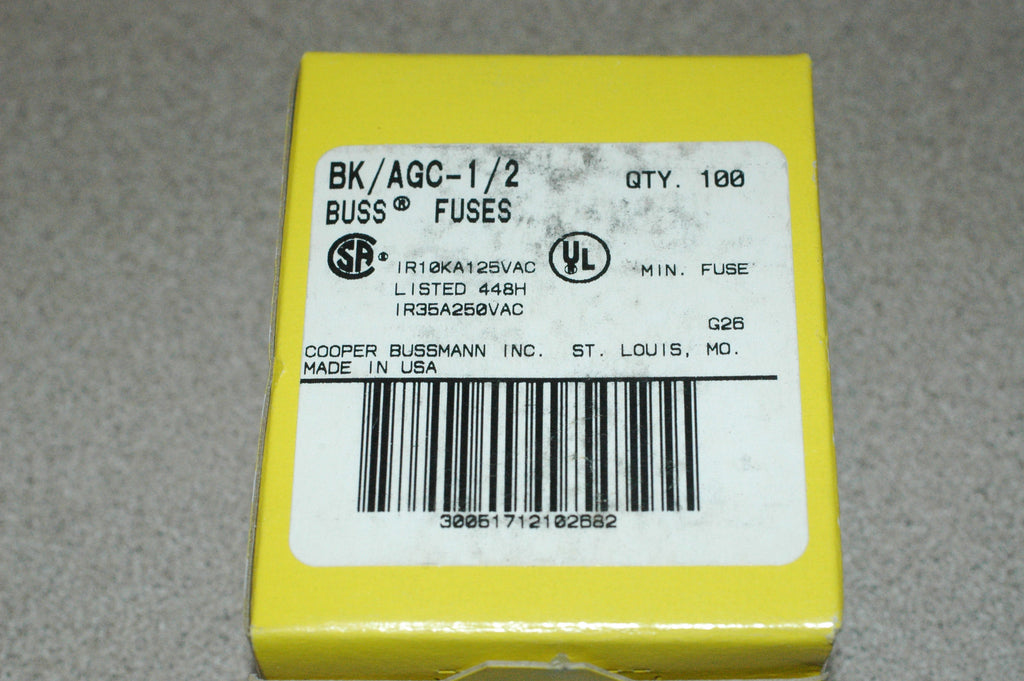 Cooper Bussmann BK/AGC-1/2 glass buss fuse case of 100 marinesurplus.com