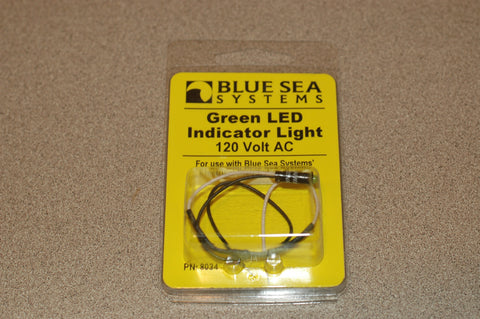 "Blue Sea 8034 BAG OF 10 Green LED indicator 120 volt AC light fits 11/64"" hole Electrical & Lighting MarineSurplus.com"
