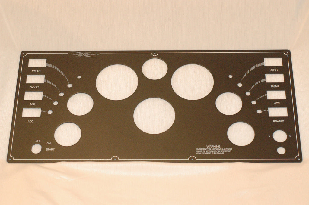 "Design Concepts Dash Instrument and switch panel 10"" x 22"" aluminum Odds and Ends part from MarineSurplus.com"