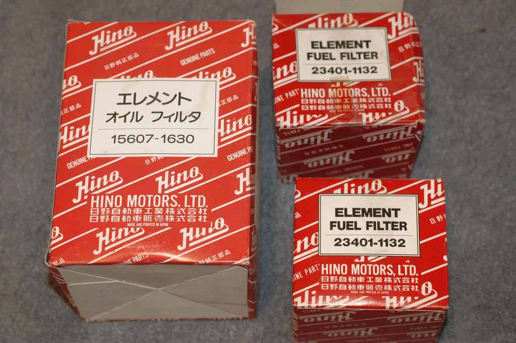 Hino 15607-1630 oil filter and Two (2) 23401-1132 fuel filters Diesel Parts part from MarineSurplus.com