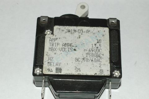 Heinemann JA1S-D3-A Single pole Circuit breaker 10 amp Electrical Systems part from MarineSurplus.com