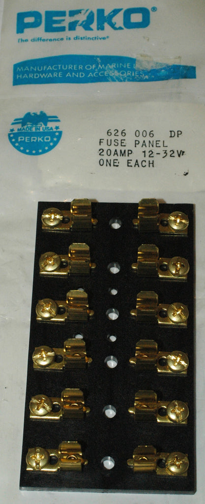 "Perko 626 006 DP Fuse Panel  for 1/4"" x 1 1/4"" fuses 6 gang Electrical Systems part from MarineSurplus.com"
