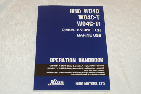 Hino W04D W04C-T W04C-TI Marine Diesel operation maintenance handbook Tools part from MarineSurplus.com