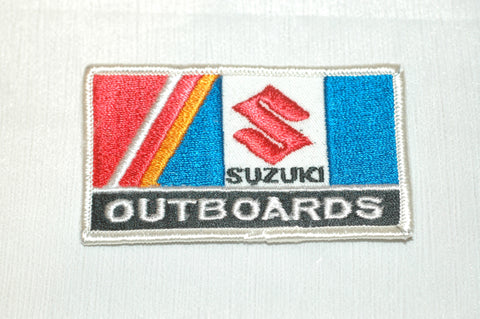 "Suzuki Outboards embroidered patch 3 1/2"" X 2"" Accessories part from MarineSurplus.com"
