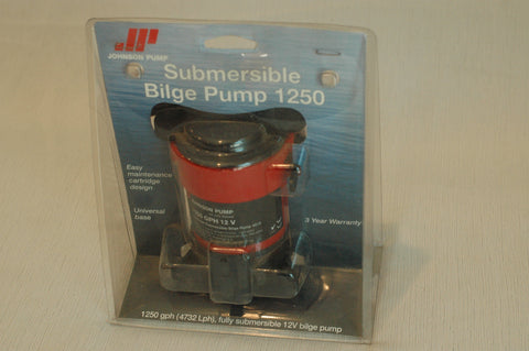 "Johnson 1250 GPH Submersible Bilge Pump 12Volt uses 1-1/8"" hose"