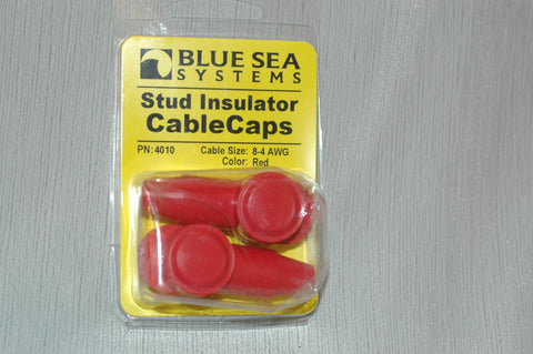 BLUE SEA 4010 battery stud insulator cable caps, red, for 8-4 AWG wire