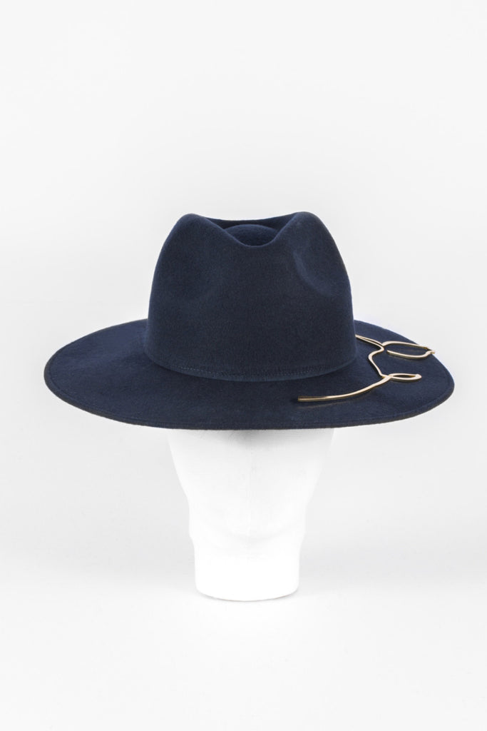 Francesca felt hat (Black & Gold)