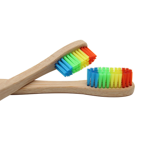Rainbow Colored  Bamboo Toothbrush with Soft Bristle