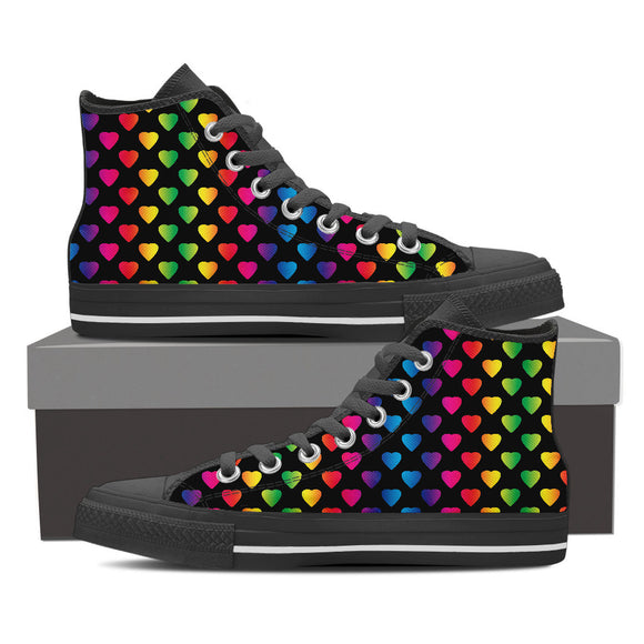 Rainbow Hearts High Top Canvas Shoes