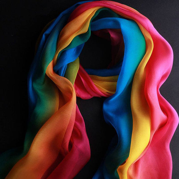 LGBT Rainbow Color Chiffon Scarf For Pride Parade