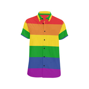 Rainbow Color Short Sleeve Men's Shirt
