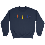 LGBT Pride Heartbeat blue Sweatshirt for men & women