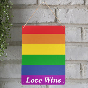Pride Love Wins Metal Tin Sign