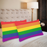 Set of 2 Rainbow Pillow Case - One Side