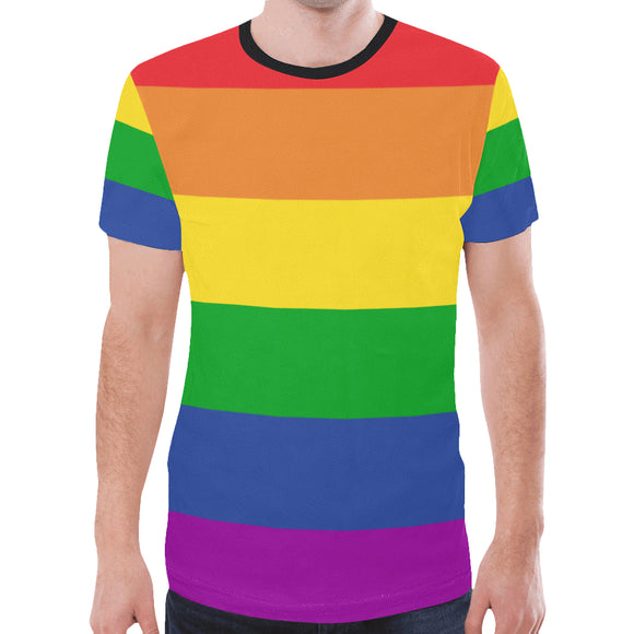 Rainbow Pride Flag All Over Print T-shirt for men rainbow strips mens tshirt