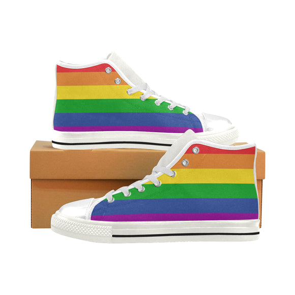 Men's Classic High Top Rainbow Canvas Shoes (Higher size)