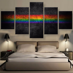 Color Our World With Pride  Canvas Paintings 5 Panels