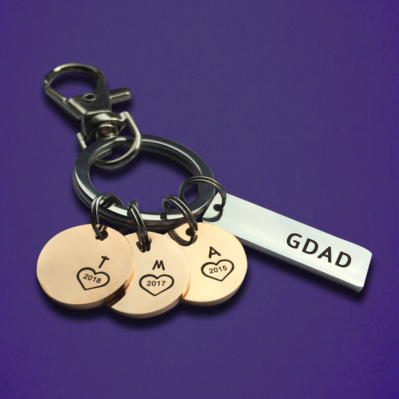 Personalized Keychain for GDad, GMom with Initials & Year