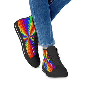 Pride Rainbow Illusion Black High Top Canvas Shoes