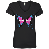 Trans Pride Butterfly black v-neck Shirt for women | Unique Design Trans Pride black Tshirt for women