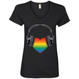Listen to Your Heart LGBT Pride black vneck tshirt for women