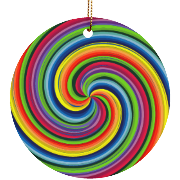 Pride Spiral Ceramic Circle Ornament