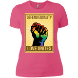 """Defend Equality, Love Unites"" Gay Pride T-shirt Warm Pink Roun-Neck Half-Sleeves Digital Print T-shirt"
