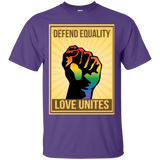"""Defend Equality, Love Unites"" Gay Pride T-shirt purple Color Round Neck Half Sleeves Digital Print T-shirt"