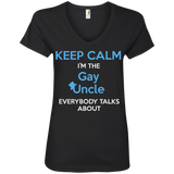 Gay pride v-neck black Shirt Keep Calm I'm The Gay Uncle quote printed Round neck Shirt for women