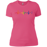 Rainbow Heartbeat pink color LGBT Pride tshirt for women