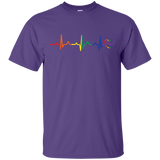 Rainbow Heartbeat purple color round neck Gay Pride T Shirt