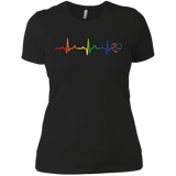Rainbow Heartbeat black color LGBT Pride tshirt for women