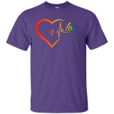 Rainbow Heartbeat Love Shirt Gay Pride Purple tshirt for men