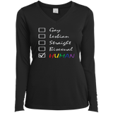 Human Check Box LGBT Pride black full sleeves v-neck T Shirt for Women Human Equality LGBT Pride black full sleeves v-neck Tshirt for Women