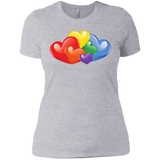 Vibrant Heart Gay Pride grey T Shirt for Women  LGBT Pride Tshirt for Women