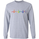 Rainbow Heartbeat gay pride grey full sleeves Men's tshirt