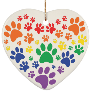 Rainbow Paw Print Love Ceramic Heart Christmas Ornament