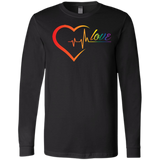 Rainbow Heartbeat Love Shirt Gay Pride black full sleeves tshirt for men
