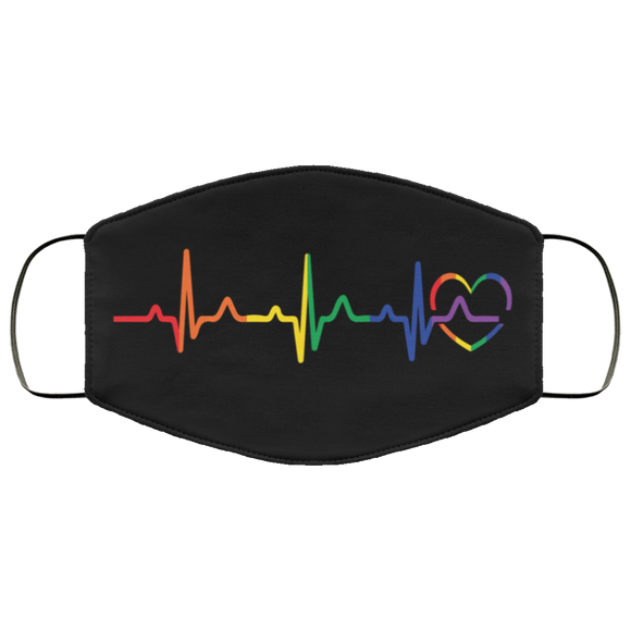 Rainbow Heartbeat Face Mask
