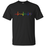 Rainbow Heartbeat gay pride  black Men's tshirt