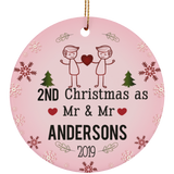 Personalized LGBT Pride Mr and Mr Ceramic Circle Christmas Ornament Gift For Gay Couple - Blue Color