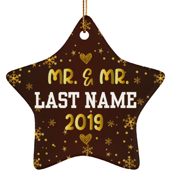 Personalized Mr and Mr 2019 LGBT Pride Ceramic Star Christmas Ornament Gift For Gay Couple