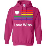 """LGBT Flag Love Wins"" LGBT Pride Pink Hoodie for Men & Women"