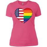 Gay Pride USA Flag Love pink women Shirt LGBT Pride USA Flag tshirt for women