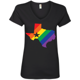 Rainbow Texas Pride v-neck black tshirt for men texas print on womens shirt