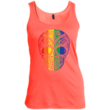 Rainbow Skull orange Tank top for women